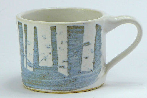 Ceramic espresso cup - birch trees