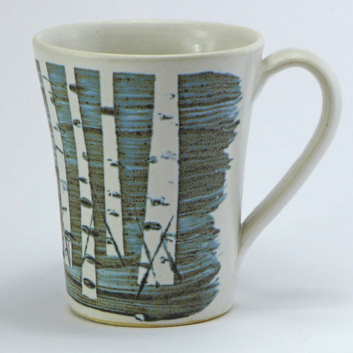 Ceramic flared mug - birch trees