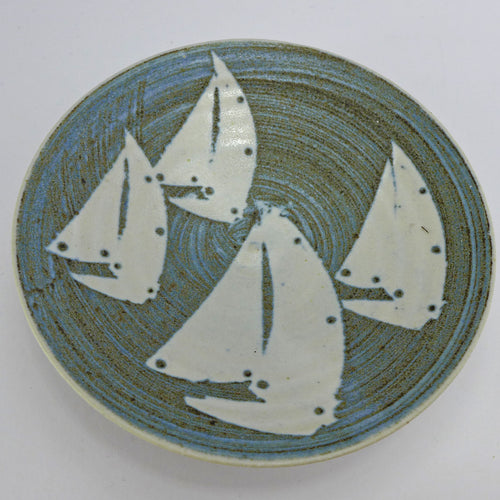Ceramic small shallow bowl - yachts