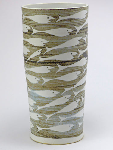Ceramic tall vase - fish