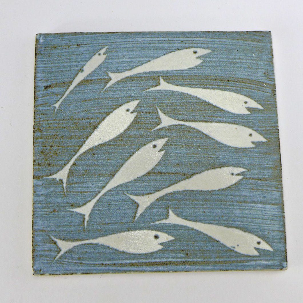 Ceramic square tile or pot stand - fish