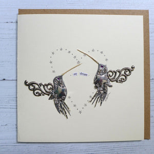 Barefoot Beachcomber handmade humming bird pair card