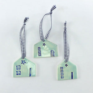 Ceramic hanging house with gingham ribbon