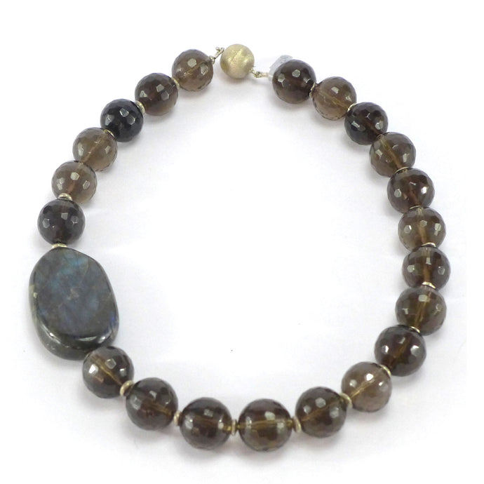 Smokey Quartz and Labradorite necklace R1