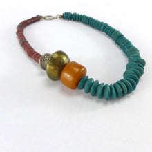 Load image into Gallery viewer, Hematite Silver and Amber necklace R2
