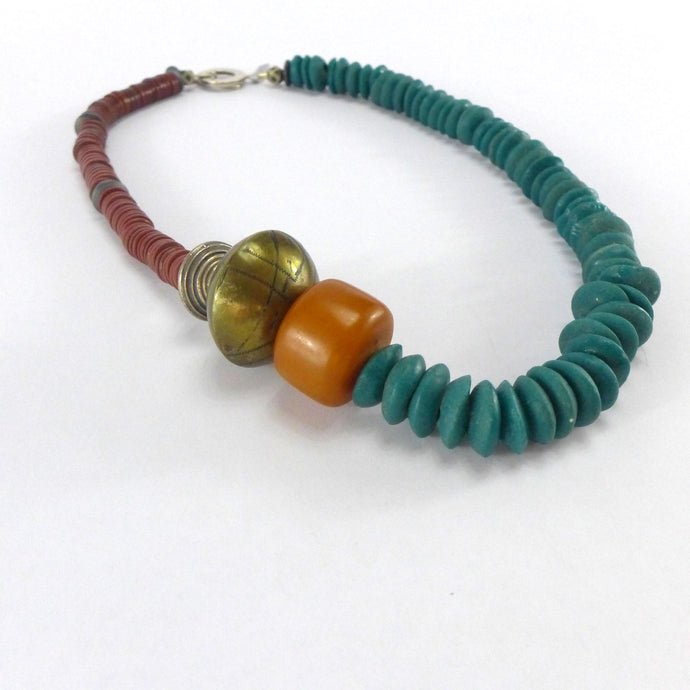 Hematite Silver and Amber necklace R2