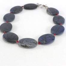 Load image into Gallery viewer, Dumorierite and coral necklace R4