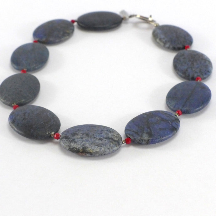 Dumorierite and coral necklace R4