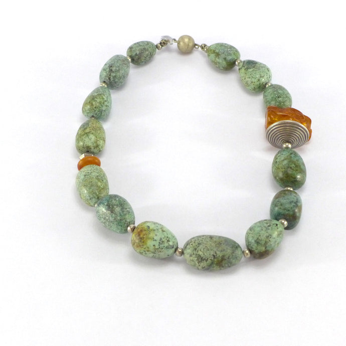Chrysocolla and amber necklace R5