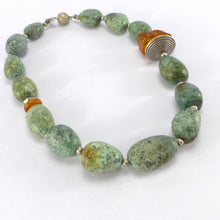 Load image into Gallery viewer, Chrysocolla and amber necklace R5