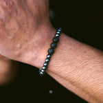Triple Black Crystal Beaded Bracelet Gunmetal Grey