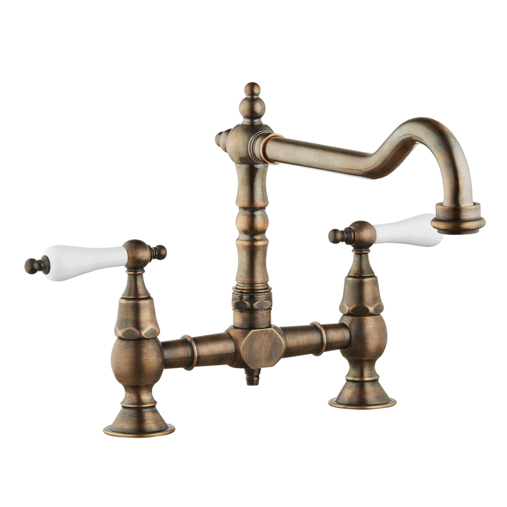 Brunel - Old English Bridge Kitchen Sink Mixer - Porcelain Levers