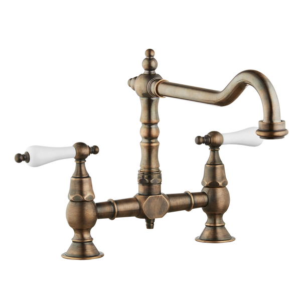 Brunel - Old English Bridge Kitchen Sink Mixer - Metal Levers