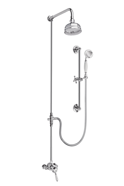 Heritage Shower System Arm Rose Diverter & Flexible Kit - Porcelain Lever