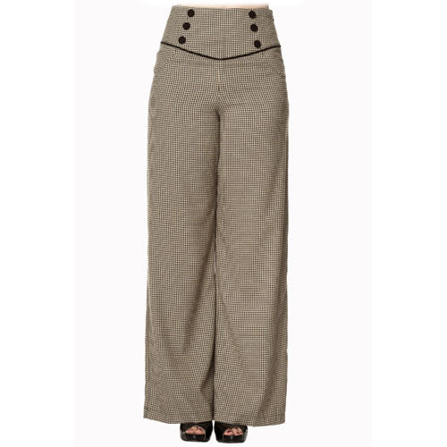 Fawn plaid ladies swing pants front.