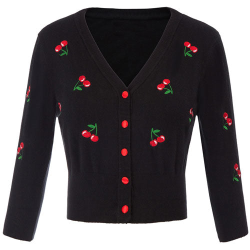 Black Cherry embroidered cardigan.