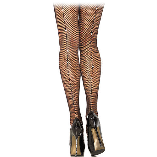 Pinup fishnet pantyhose with Rhinestone backseam.