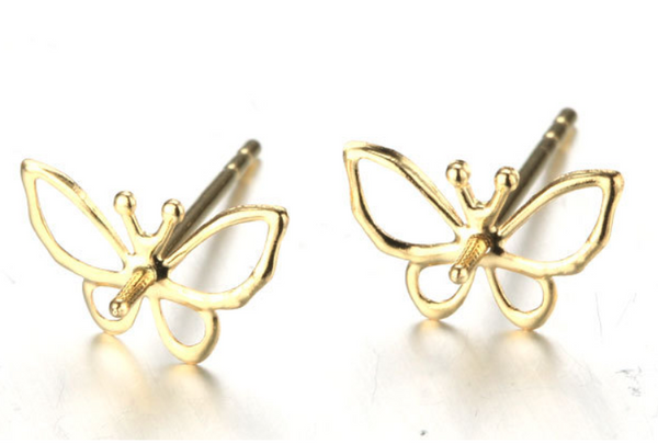 14k solid gold butterfly shape pearl earring stud findings, Yellow gold, Real gold