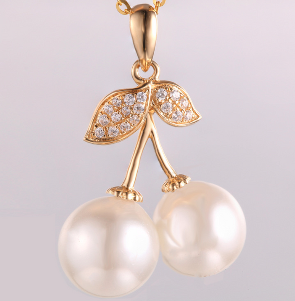14k solid gold  real gold the cherry shape pearl pendant findings, Yellow gold