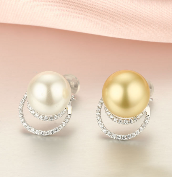14k solid gold pearl earring stud findings 66 pieces CZ cubic zirconia, White gold, Real gold