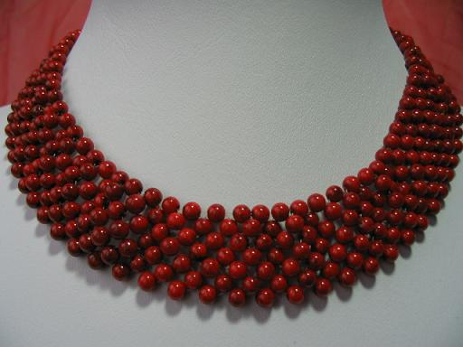 4mm Knit Red Coral Necklace