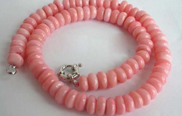"18"" pink coral abacus beads necklace [NW1975]"