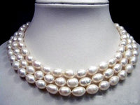 CHarming 3rows 7-8 white FW cultured pearl necklace