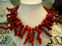 "17"" large red branch coral necklace"