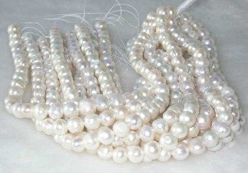 "wholesale 16"" 10-11mm white pearl necklace strings"