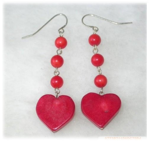 Dangle earrings - red coral heart silver hook