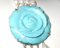 "27""-33"" 4-rows 9-10 white pearl blue turquoise clasp"
