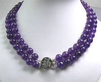 2 rows 10mm Amethyst Bead Silver Clasp Necklace