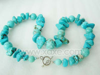 Round and irregular shape turquoise beads necklace