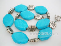 18'' big facet turquoise bead & silver flower necklace