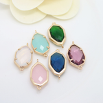 5 x 24k gold plated mix color heptagon brass connector mix color glass zirconia