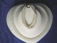 "Beautiful! 16""-17"" 2rows 6.5mm white cultured FW Pearl necklace"