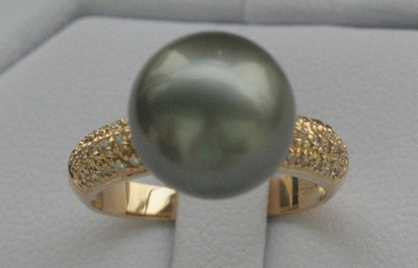 RARE 14K yellow gold 7.5# 12mm black Tahitian pearl ring