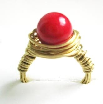 Wire wrapped ring - Red coral bead with golden copper