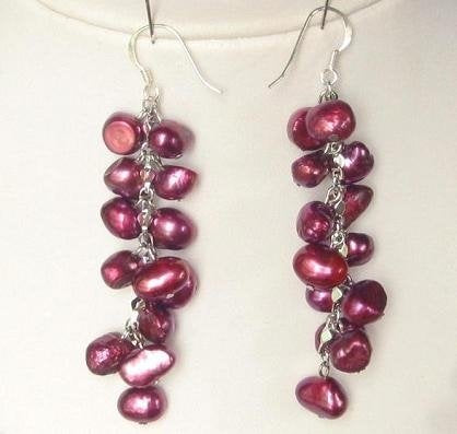 Earings Dangle FW Red Pearls 925 SIlver