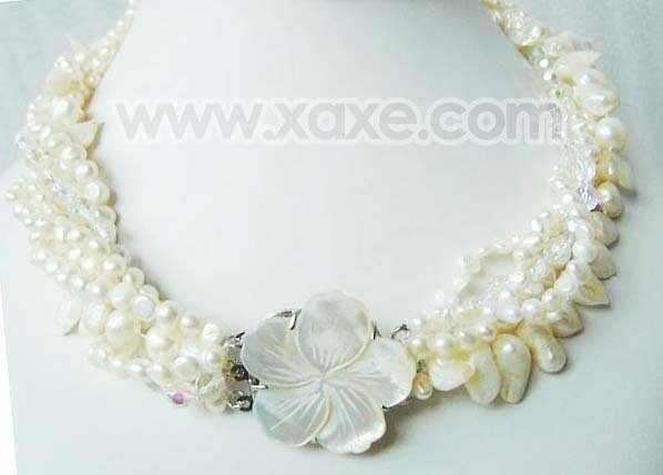 6 strands white pearls and crystal necklace shell clasp