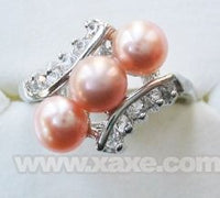 3pcs freshwater pearl ring with rhinestone - pink color