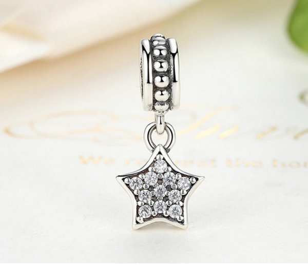 925 Sterling Silver Charm Adorable pentagram Bead Fits Pandora, Biagi, Troll, Chamilla and Many Other European Charm