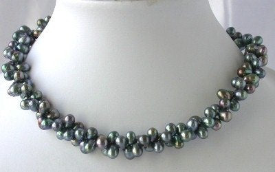 "16"" 2-rows 5*7mm peacock FW pearl necklace"