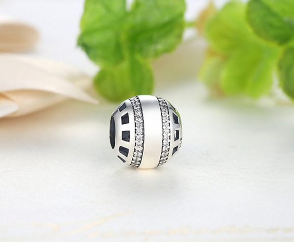 Sterling 925 silver space ball bead pendant fits European charm bracelet