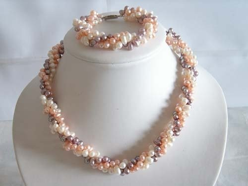 "17.5"" colorful FW pearl Necklace & bracelet set"