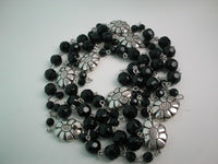 50'' long black agate facet bead and tibet silver necklace