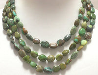 BEAUTIFUL 51'' 9-11mm NATURAL OLD TURQUOISE NECKLACE