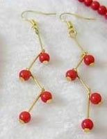 Red coral beads 4 pieces dangle earrings 14kgp