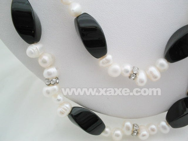 44'' white pearl & agate beads long necklace