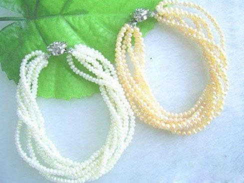 Wholesale 2pcs white pink multistrands bracelet
